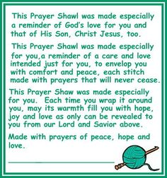 Prayer Shawls: Wonderful information about Prayer Shawl Ministry & prayers. Crochet Prayer Shawls, Crochet Shawls And Wraps, Knitted Shawls, Crochet Scarves, Loom Knitting, Knitting Patterns, Crochet Patterns, Knitting Ideas, Easy Crochet