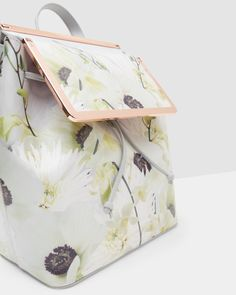 Pearly Petal metal bar backpack - Light Gray | Bags | Ted Baker