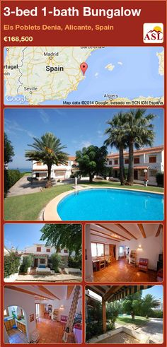 Bungalow for Sale in Els Poblets Denia, Alicante, Spain with 3 bedrooms, 1 bathroom - A Spanish Life Semi Detached, Detached House, Bungalows For Sale, Aluminium Windows, Alicante Spain, Window Shutters, Googie, Open Plan Kitchen, Ground Floor