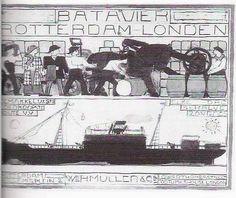 Bart van der Leck, layout for a Batavier Line poster.