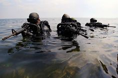 Philippine Naval Special Operations Group members emerging from the water.