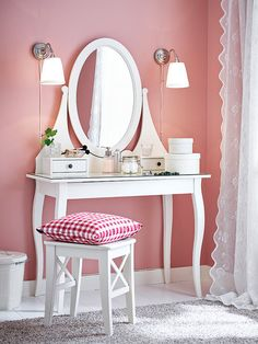 IKEA offers everything from living room furniture to mattresses and bedroom furniture so that you can design your life at home. Check out our furniture and home furnishings! Dressing Table With Mirror Ikea, University Bedroom, Vanity Room, At Home Furniture Store, White Furniture, Baby Decor, New Room, Decoration, Hemnes