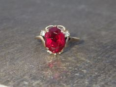 Antique 10k Yellow Gold Ruby Stone Ring  by My3LadiesJewelry, $195.00