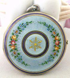 Sterling Silver Blue Guilloche Enamel Photo Locket
