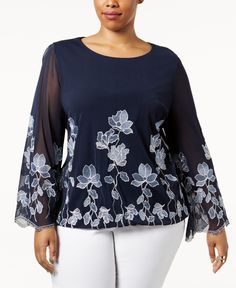 acbf5998b8b96 Alfani Plus Size Embroidered Blouson Top, Created for Macy's & Reviews -  Tops - Plus Sizes - Macy's