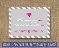 Will You Be My Maid of Honor - Funny Will You Be My Maid of Honor - Bridesmaids - Cards on Etsy, $4.00