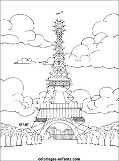Paris buildings & Eiffel tower : cute coloring page to