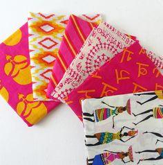 Fat Quarter Bundles -Pink and Turmeric Yellow - Indian cotton fabric
