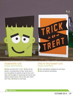 Paper Crafts & Scrapbooking - October 2014 - Page 39, Frankenstein Card by Mendi Yoshikawa