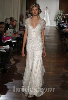 "Brides.com: Jenny Packham - 2013. ""Azalea"" short sleeve embroidered tulle sheath wedding dress with metallic lace applique details, Jenny Packham  See more Jenny Packham wedding dresses in our gallery."