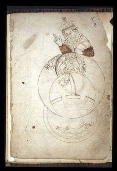 A drawing of the world, from a sixteenth century alchemical treatise and diagrams, with God wearing a crown above, Christ in Majesty and the Devil bound below; (Egerton 845 f.15). (British Library)