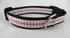 Baseball Stitches Dog Collar by RogueCollars on Etsy
