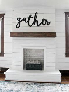 I'm so excited to be sharing our DIY Shiplap Fireplace with you guys today! This project was a beast that took us many months to complete … – Home – fireplace Painted Brick Fireplaces, Shiplap Fireplace, Farmhouse Fireplace, Home Fireplace, Fireplace Remodel, Fireplace Design, Rustic Farmhouse, Fireplace Ideas, Diy Faux Fireplace