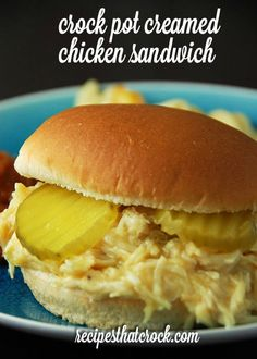 Feeding a crowd? Check out this Crock Pot Creamed Chicken Sandwich recipe. It is… Feeding a crowd? Check out this Crock Pot Creamed Chicken Sandwich recipe. It is a snap to throw together and makes around 24 sandwiches! Crock Pot Food, Crockpot Dishes, Crock Pot Slow Cooker, Slow Cooker Recipes, Cooking Recipes, Crockpot Meals, Shredded Chicken Sandwiches, Chicken Sandwich Recipes, Soup And Sandwich