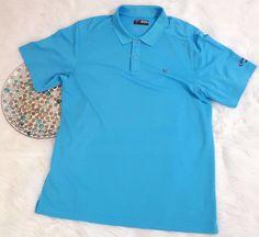 Callaway Mens Polo Shirt Size XL Blue Opti Dri Moisture Management Wicking EUC #Callaway #PoloRugby