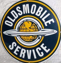 Oldsmobile Service Die Cut Porcelain Sign Advertising Licensed Official GM Sign