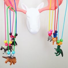 kids jewelry, zoo animal necklace, dinosaur necklace, zoo party favors, animal party favors, hand painted beads, break away necklace