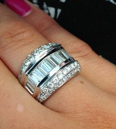 #WideWeddingBand with gorgeous #BaguetteDiamonds #3CaratTotalweight  http://www.BloomingBeautyRing.com