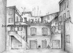 He encontrado este interesante anuncio de Etsy en https://www.etsy.com/es/listing/45228746/courtyard-rome-italy-pencil-sketch-8-x