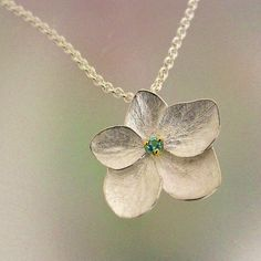 Hydrangea Flower Necklace with Blue Topaz Sterling Hydrangea