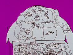 Hunger. by Peter Foldès — 1974  Animated film satire of self-indulgence in a hungry world. Rapidly dissolving, reshaping images, made with t...