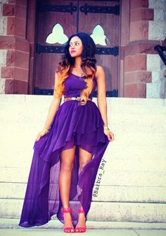 Purple high low dress