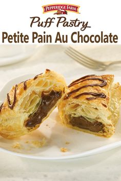 Puff Pastry Petite Pain Au Chocolate Recipe.  If you need a sweet treat or quick dessert, this recipe is definitely for you. Simply fill squares of Puff Pastry with semi-sweet chocolate chips, seal the edges and bake! Top with a drizzle of chocolate sauce (made quickly with chocolate chips, butter and confectioners' sugar) for the ultimate indulgence.