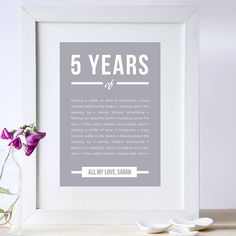 personalised five year anniversary print by elephant grey | notonthehighstreet.com