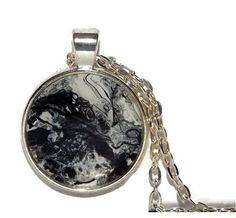 Round Pendant Necklace Black and white hand painted handmade artisan gift