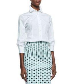 Basic Button-Front Shirt, White by Carolina Herrera at Neiman Marcus.