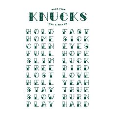 Knucks is basically a 4x6 sheet of pure gangsta. Mix and match the four letter phrases to create unique statements on your knuckles. With 22 words per sheet, you can create 11 full, two hand knuckle messages with each sheet. Knucks takes fist bumps to a whole new level.