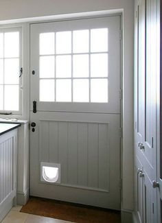"""""""Stable Door""""Nice and wide to get furniture in and out and has a cat flap for when the doors fully closed. My best friend made one for me. Half Doors, Dutch Door, Home Comforts, Cottage Door, Windows And Doors, Kitchen Doors, House Doors, Stable Door, House Interior"""
