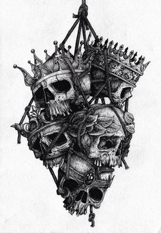 Skulls with crowns