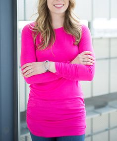 Love this Fuchsia Ruched Long-Sleeve Tunic on #zulily! #zulilyfinds