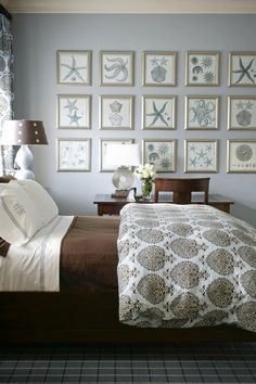 mediterranean bedroom by Tobi Fairley, great framed pics of sea shells.  All in the same sames of blue and gray.