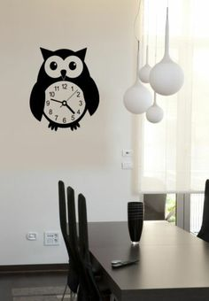 Wall Stickers Vinyl Decal Owl Clocks Bird Home Decor ig694