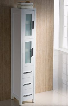 fresca torino white tall bathroom linen side cabinet