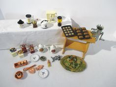 Doll Kitchen Accessories Table Lot of 20 Barbie Sized Food Coffee Maker Dishes #Unbranded