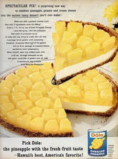 This says: Dole Pineapple Pie: Spectacular Pie! A surprising new way to combine pineapple, gelatin and cream cheese into the easiest fancy dessert you'll ever make! Jello Recipes, Fancy Desserts, Köstliche Desserts, Delicious Desserts, Dessert Recipes, Yummy Food, Grandma's Recipes, Family Recipes, Recipies