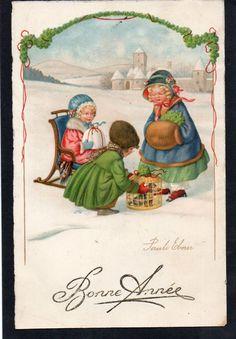 Pauli Ebner Postcard - Natale Christmas Bambini Children - Scritta - EB228