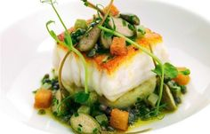Nadire Atas on Foodie Journey Pan-roast fillets of Dover sole with crab-crushed Jersey Royals and sauce grenoble Sole Fillet Recipes, Sole Recipes, Fish Recipes, Seafood Recipes, Cooking Recipes, Dover Sole, Great British Chefs, Fish Dishes, Fish And Seafood