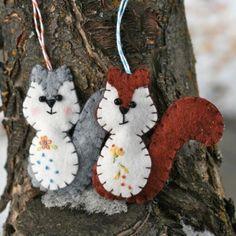 Squirrels - Felt Ornament Tutorial
