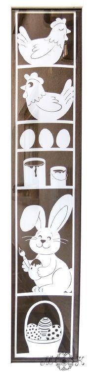 Plotterdatei Fensterbild Ostern (XXL) mit Huhn Ei Farbeimer Osterhase und Osterkorb