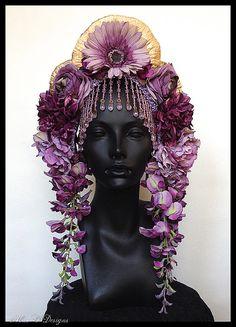 MADE TO ORDER Lavender & Amethyst  Flower Headdress by MissGDesignsShop