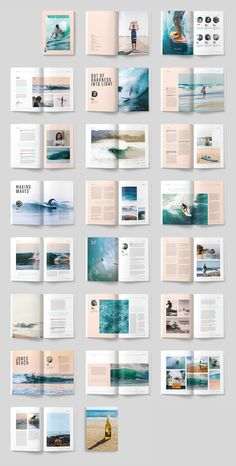 WAVERIDER - A modern, minimal, magazine, folio or brochure InDesign template. This layout has been designed as a Surfing magazine, but could easily be turned into any sort of sport or adventure theme. AND US… design Web Design, Page Layout Design, Magazine Layout Design, Magazine Layouts, Web Layout, Layout Book, Photo Book Design, Coffee Table Book Layout, Magazine Cover Layout