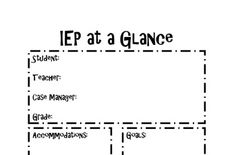 Ieps on pinterest special education resource room for Iep at a glance template