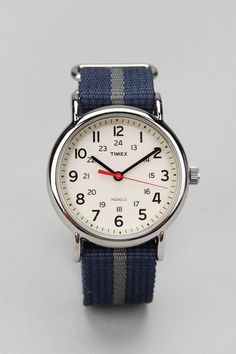 The best watch watch for any outfit and will not break your wallet... Timex Striped Band Weekender Watch  #UrbanOutfitters