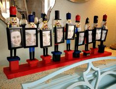 Dollar store nutcrackers into a cute group photo display: Dollar Store Christmas Decorating -- The Pennington Point