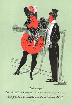 """""""Bal masqué. - Ben ! tu sais ! entre vous deux ! J'aime encore mieux ton ami. Il est p't'être plus canaille, mais il a l'air moins bête !!"""" - Silhouettes Fantaisistes par Maurice MARAIS - 4ème série - planche 47 - MAS Estampes Anciennes - MAS Antique Prints"""