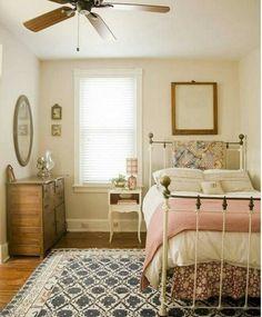 Dream bedroom Vintage pink blue cream wood small bedroom